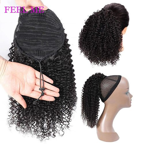 FEEL ME Curly Ponytail Beauty Drawstring Afro Kinky Curly Human Hair Ponytail For Women Non-remy Brazilian Hair Extensions