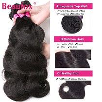 Beaufox Body Wave Bundles Brazilian Hair Weave Bundles 1/3/4 PCS Human Hair Bundles Natural /Jet Black 8-30 Remy Hair Extensions