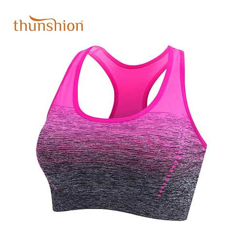 THUNSHION Sports Bra High Stretch Breathable Top Fitness Women Padded for Running Yoga Gym Seamless Crop Bra Gradient Sport Bra