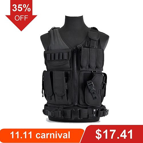 Men Airsoft Military Tactical Vest Paintball Camouflage Hunting Vest Assault Shooting Hunting Vest CS Field Clothing Adjustable
