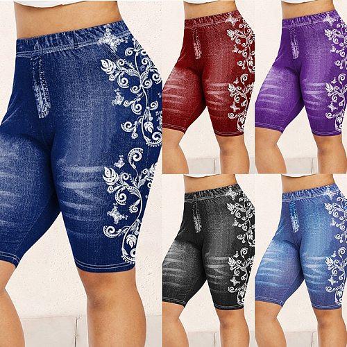 NEW Fashion Women Shorts Leggings Summer Fake Denim Ladies Short Pants Summer Floral Printed High Waist Female Shorts 2021