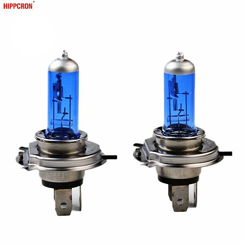 hippcron Halogen Bulb H4 12V 100/90W 5000K Xenon Dark Blue Glass Car HeadLight Lamp Super White 2 PCS(1 Pair)