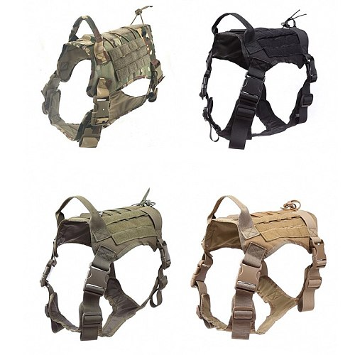Military Army Police Dog Vest Tactical Hunting Vest For Service Dog Harness Training Combat Dog Harness Clothes With Pouch Bag