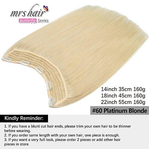 Mrshair U Part Natural Extension Hair Clip 100% Human Hair Clip in One Piece Full Head 160Grams 14 18 22 Inch Thick Volume Hair