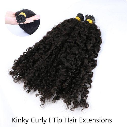 Kinky Curly I Tip Microlinks Human Hair Extensions For Black Women Brazilian Virgin Hair Bulk Natural Black Color Extension
