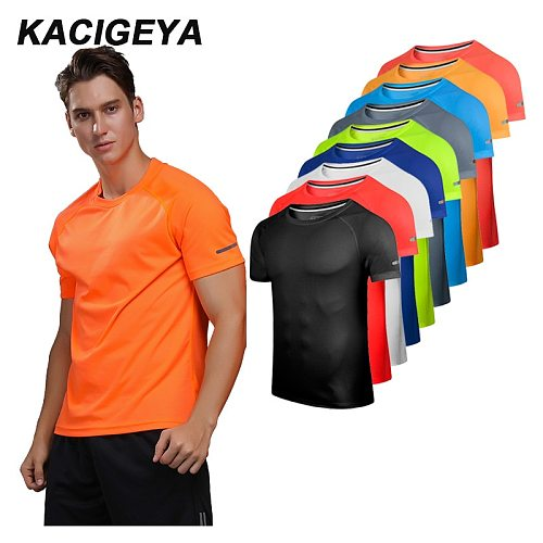 Breathable Short Sleeve Men Running Fitness Tshirt Quick Dry Soccer Jersey Solid Sports Tees Bodybuilding Training Shirts