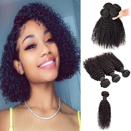 M&H Bundles Indian Curly Hair Bundles 10 12 Inchs 100% Top Human Hair Bundles No Shedding Human Hair Extensions