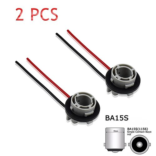 2Pcs 1156 Bulb Socket BA15S Lamp Holder P21W Adapter Base Connector