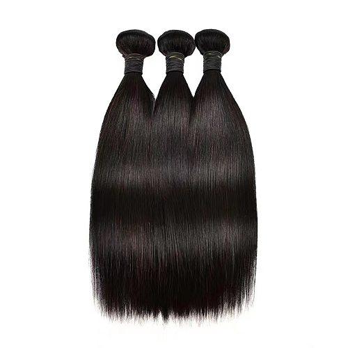 Brazilian Straight Hair 3 Bundles Non-Remy Hair 100% Human Hair Weave Bundles Medium Ratio Hair