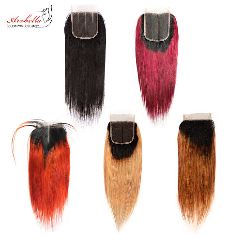 4x4 Transparent Lace Closure Brazilian Straight Ombre Straight Remy Hair 100% Human Hair Arabella Pre Plucked Lace Closure