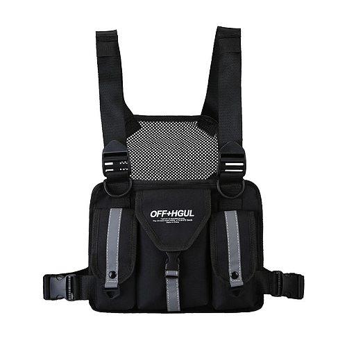 Men Tactical Chest Bag Fashion Bullet Hip Hop Vest Streetwear Bag Waist Pack Women Black Camo Functional Chest Rig Bag