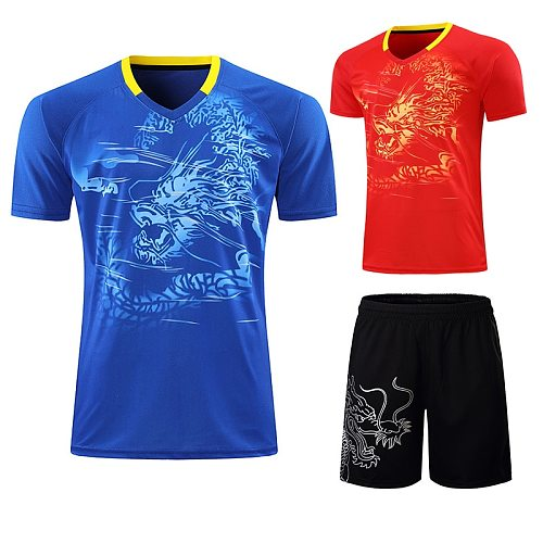 2021 CHINA Dragon Team table tennis shirt +shorts Men / Women, pingpong shirts ,Quick Dry table tennis clothes Shirts and shorts