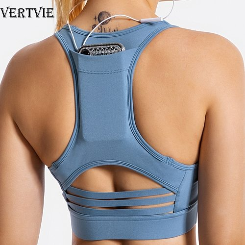 VERTVIE Women Sports Bra Back Phone Pocket Push Up Gathered Yoga Top Fitness Running Sportswear Padded Gym Mesh Patchwork Bras
