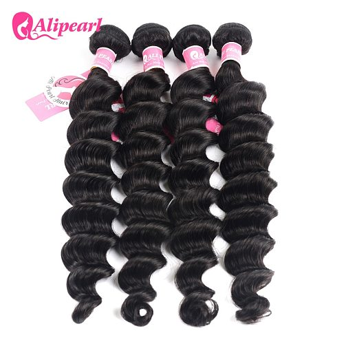 AliPearl Hair Brazilian Loose Deep Hair Weave 4 Bundle Deals 100% Human Hair Bundles Natural Black 8-30inch Remy Hair Extensions