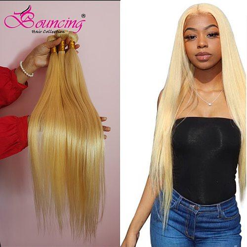 Bouncing Straight Bundles 613 Blonde Bundles Deal Brazilian Human Hair Bundles 8-24 Inches Remy Hair Extensions