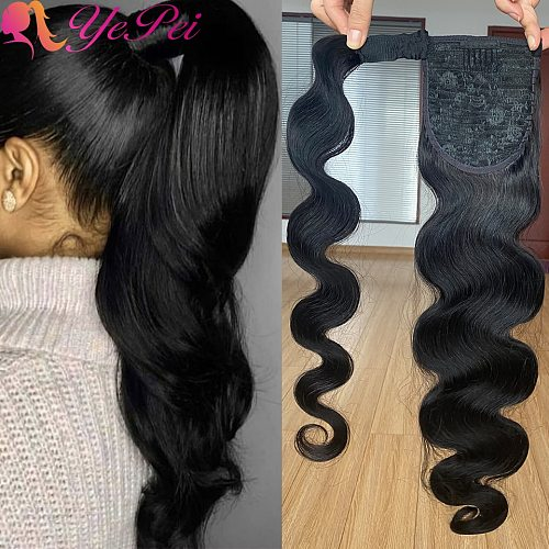 Wrap Around Ponytail Human Hair Brazilian Magic Paste Pony Tail Extensions Body Wave Remy Hairpieces For Women Remy Hair
