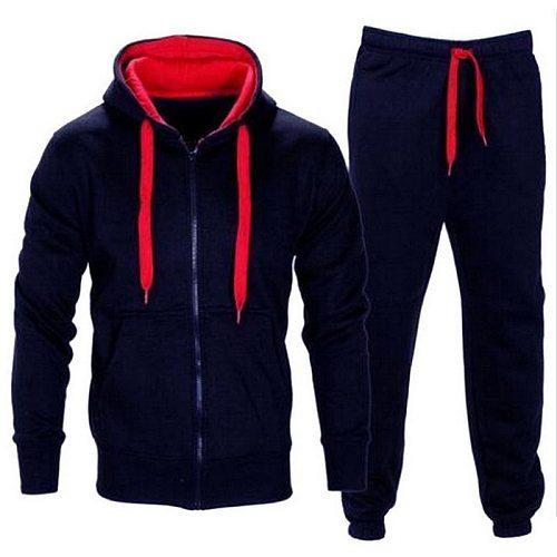 Tracksuit Men Autumn Sportwear Fashion Mens Set 2PC Zipper Hooded Sweatshirt Jacket+Pant Moleton Masculino Sets 2020