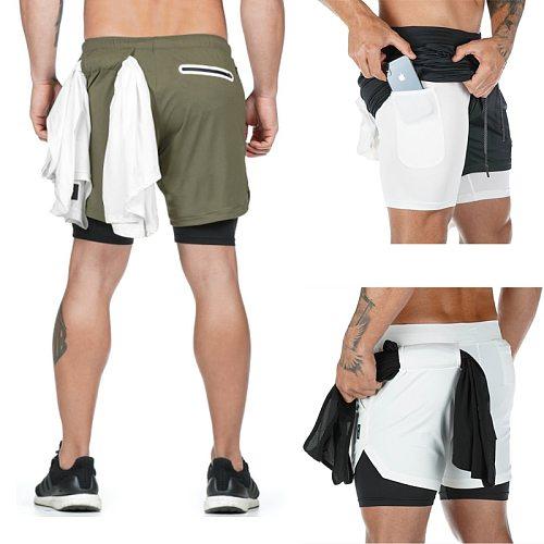 New Summer Running Shorts Men 2 in 1 Sports Jogging Fitness Training  Shorts Quick Dry Mens Gym Men Shorts Sport gym Short Pants