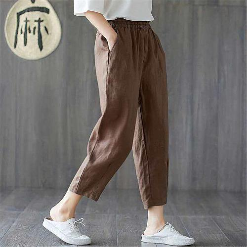 M-4XL Womens Spring Summer Pants Cotton Linen Solid Elastic waist Candy Colors Harem Trousers Soft high quality for Female ladys