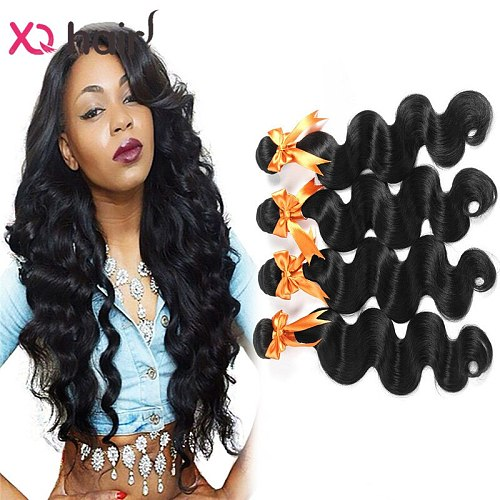 XQ Hair Brazilian Body Wave 100% Human Hair Weave Bundles 4pcs Non-remy Hair Extensions 8-26 inch Double Weft