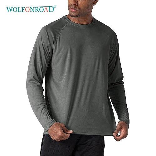 WOLFONROAD Quick Dry Men's UPF 50+ Long Sleeve T-Shirts Man Sun Protection Outdoor Fishing Hiking T-Shirts Sun Block Shirts Tops