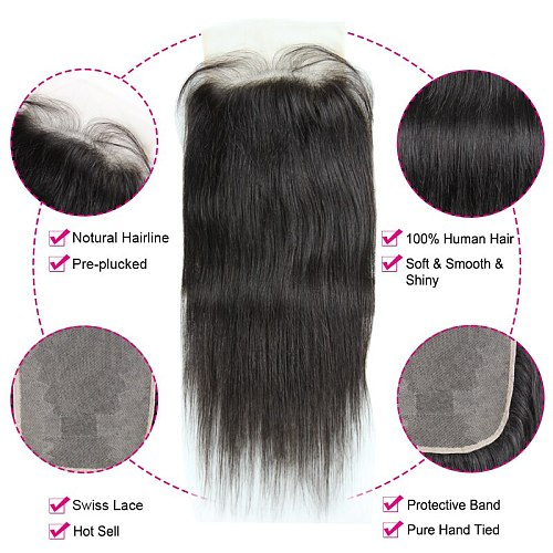 HD Transparent Lace Closure 10-20inch Brazilian Straight 4x4  5x5 Lace Closure Prepluncked Unprocessed Human Hair Extensions