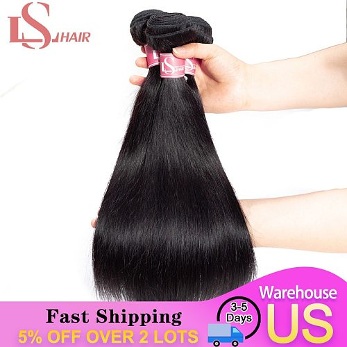 LS HAIR Straight Hair Bundles Brazilian Hair Short Bundles 100% Human Hair Bundles Natural Color Remy Hair Weave 2/3 Pieces