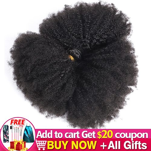 Afro Kinky Curly Hair Weave Bundle Deal Remy Human Hair Extension For Black Women 8-20 Inch Natural Color Jarin Hair Bulk Sale