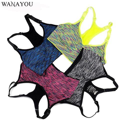 WANAYOU Women Sports Bra,Adjustable Spaghetti Strap Padded Top For Fitness Running Gym Athletic,Seamless Yoga Sports Bra Top