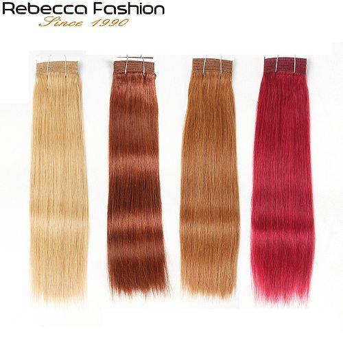 Rebecca Double Drawn Brazilian Silky Straight Hair Human Hair Weave Bundles Remy 1 Pc Only 27/30/ 6/8/ Red/ 99J Hair Bundles