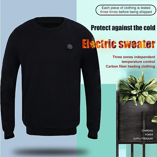 PARATAGO Winter USB Heating Sweater Men Heated Warm Clothing Male Knit Long-sleeved Sweaters Outdoor Electric Heat Jacket P5102