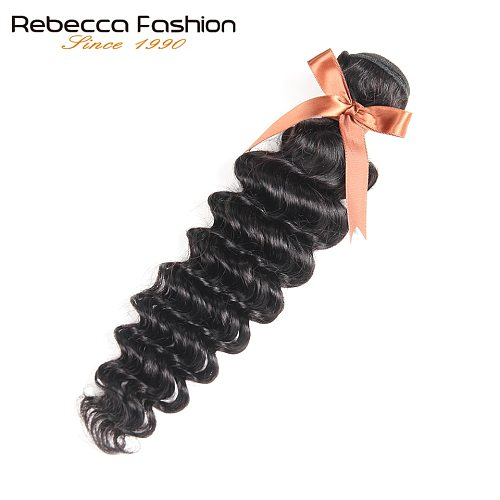 Rebecca Peruvian Loose Deep Wave Hair 1 Bundle Deals 10-26 Inch Natural Black Remy Human Hair Extensions Free Shipping