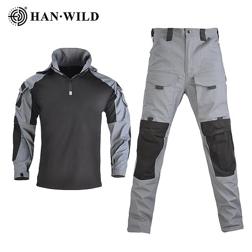 HAN WILD Hooded Tactical Suit Camo Uniform Military Shirt + Pants Army CS Shooting Training Combat Sport Hiking Shirts with Pads