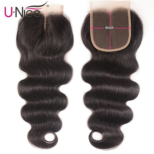 Unice Hair 100% Brazilian Human Hair Body Wave 8-18 Inch 4*4 Lace Closure Natural Color Remy Hair Weaving 1PC Free Shipping