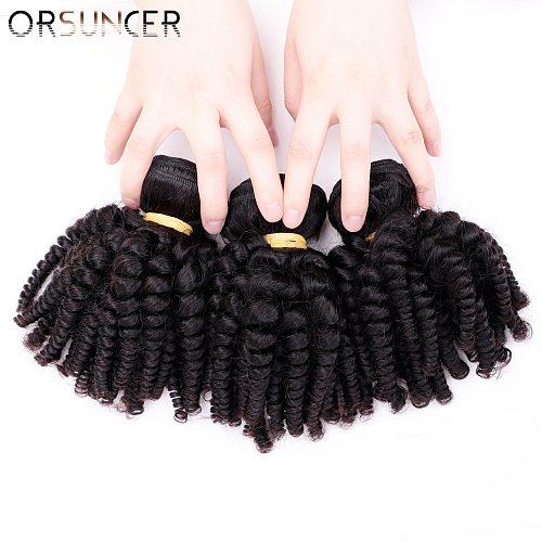 ORSUNCER Brazilian Afro Funmi Hair Bouncy Curly Human Hair Weaves Non-Remy 1/3/4 Bundles Extension Natural color Medium Ratio