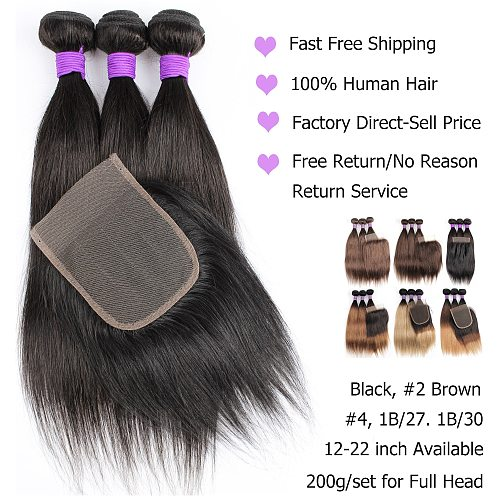Bobbi Collection 3 Bundles with Lace Closure 200g/set Straight Hair Weave Cheap Black Brown Ombre Blonde Remy Human Hair