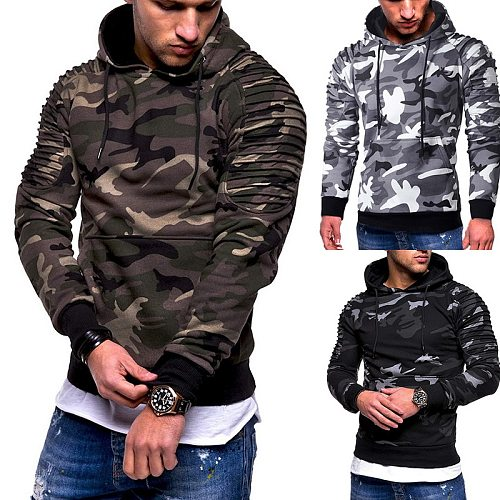 CALOFE Men's Training Exercise Sweater Camouflage Pullovers Gym Fitness Man Running Sweaters Pocket Military Hooded Sweatshirts