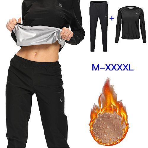 365 Days 2pcs Sauna Suit Top Women Sports Sweat Suit Women Tracksuit 2 Piece Set Long Sleeve Running Fitness Training Sauna Suit