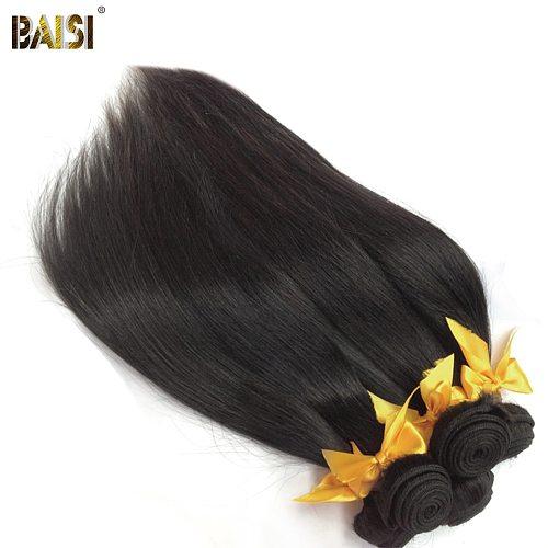 BAISI Hair Unprocessed Peruvian 10A Raw Virgin Hair Straight Hair Weave 3 Bundles 100% Human Hair