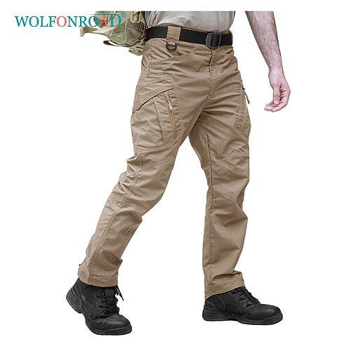 WOLFONROAD Outdoor Man Sport Hiking Pants IX9 Men Rip-stop Safari Tactical Pant City Cargo Pants Men's Military Combat Trousers