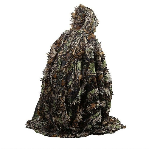 Lifelike 3D Leaves Camouflage Poncho Cloak Stealth Suits Outdoor Woodland CS Game Clothing for Hunting Shooting Birdwatching Set