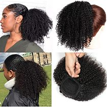Afro Kinky Curly Ponytail Human Hair Maxine 4B 4C Kinky Curly Ponytail Extensions Clip in Drawstring Ponytail Bun HairPieces