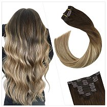 Ugeat Clip on Hair Extensions Real Remy Human Hair Highlight Blonde Color #3/8/22 Full Head Clip in Hair Extensions 120g/7Pcs