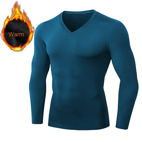 Mens Sports T-Shirt Compression Thermal Underwear Long Sleeve Solid T-Shirts Keep Warm BaseLayer Winter Fleece T-shirt Male Tee