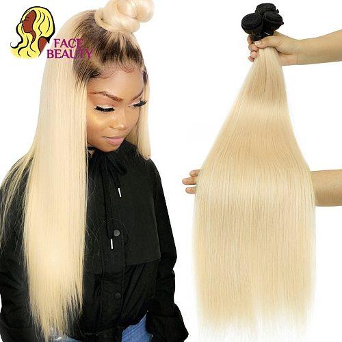 Facebeauty 1B 613 Ombre Blonde Brazilian Straight Hair Bundles 2 Tone Dark Roots Platinum Remy Human Hair Weave 1/3/4 Bundles