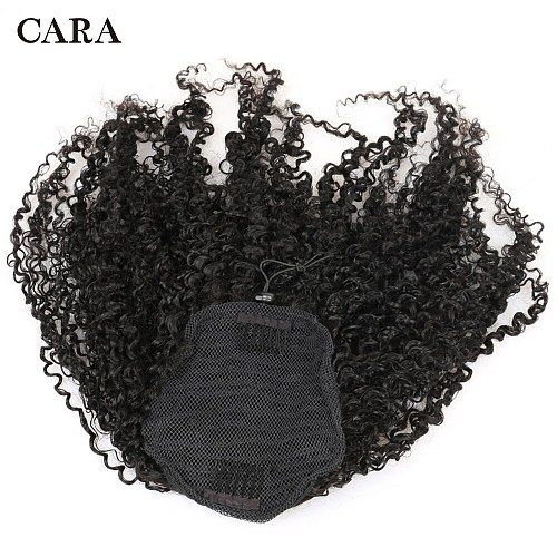 Afro Kinky Curly Drawstring Ponytail Human Hair Real Remy Hair Curly Clip In Human Hair Extensions Ponytail For Black Women Cara
