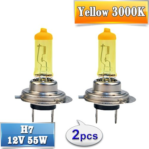 Halogen Bulb H7 Yellow 12V 55W 3000K Quartz Glass Xenon Car HeadLight Auto Lamp 2 PCS(1 Pair)