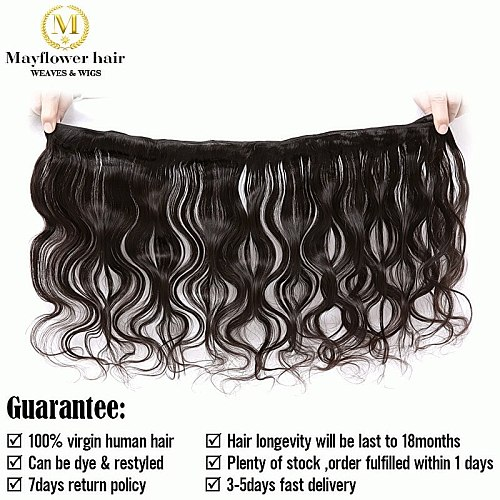 Mayflower 100% Unprocessed Virgin Malaysian body wave hair natural color can be dye 1/2/3/4 bundles 12-26  mixed length