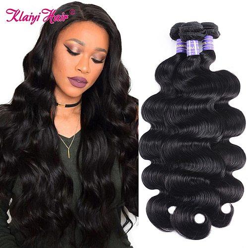Klaiyi Body Wave Human Hair Bundles Brazilian Hair Extensions Natural Black Remy Hair Weave Double Machine Weft Bundle Deals
