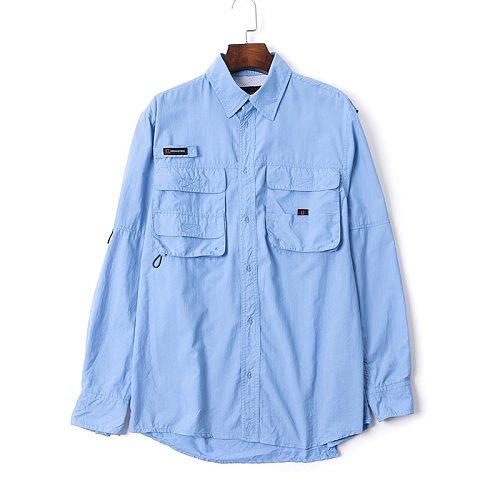2020 Men Fishing Shirt Outdoor LS Shirt  Fishing Clothes Man Hiking Shirts Quick Dry UPF40+ UV Shirt Plus USA Size S-XXL Camisa